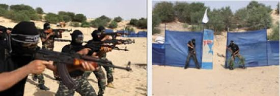 Uniformed PRC terrorist operatives simulate an assault on an IDF base