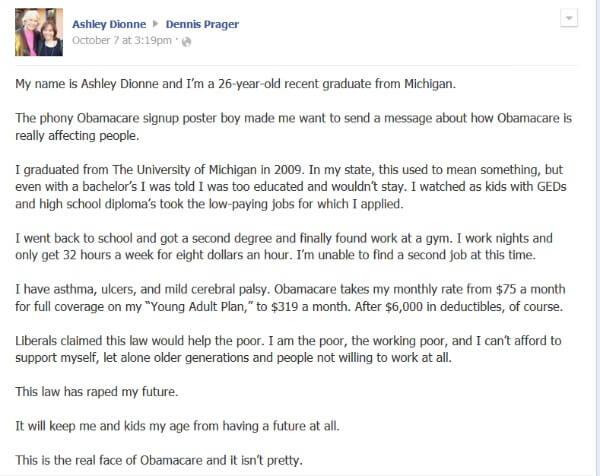Viral Obamacare Facebook Letter