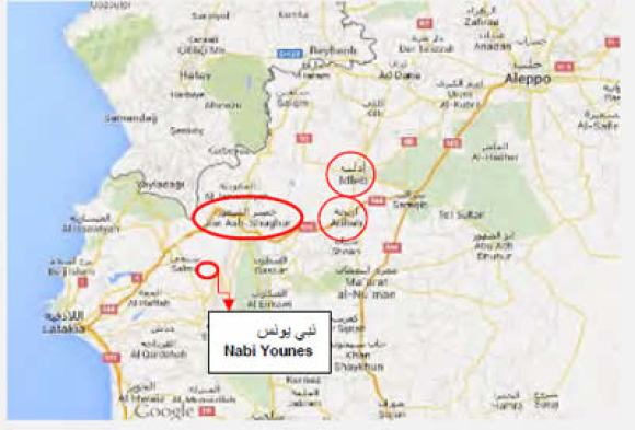 Idlib Ariha and Jisr al-Shughur and Mount Nabi Younes