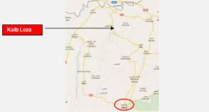city of Idlib and the village of Kalb Loza to its north