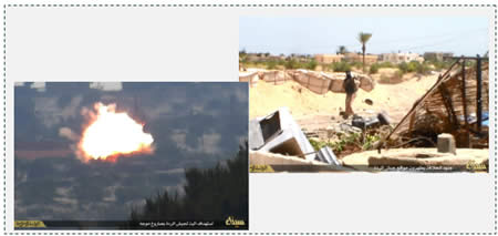 4 Egyptian Army APC hit by an anti-tank missile fired by ISIS
