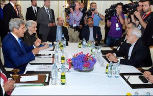 """While U.S. secretary of state John Kerry (left), his European counterparts, and Iranian foreign minister Mohammed Javad Zarif (right) were delighted to conclude the Joint Comprehensive Plan of Action in Vienna, July 14,2014, U.S. allies in the region were alarmed at what they perceived as their abandonment. The """"Iran deal"""" ignores the fundamental national security interests of Israel, Egypt, the Gulf states, and Saudi Arabia."""