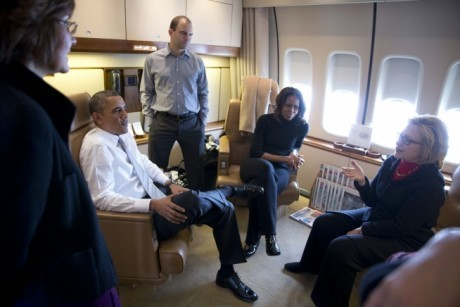 barack-obama-michelle-obama-hillary-clinton-conversation-on-air-force-one-public-domain-460x307