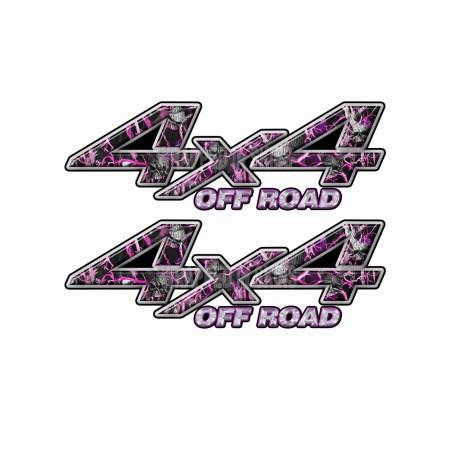4X4 OFF ROAD Pink Skull Camo Bedside Truck Decals 2 Pack (ka) 1