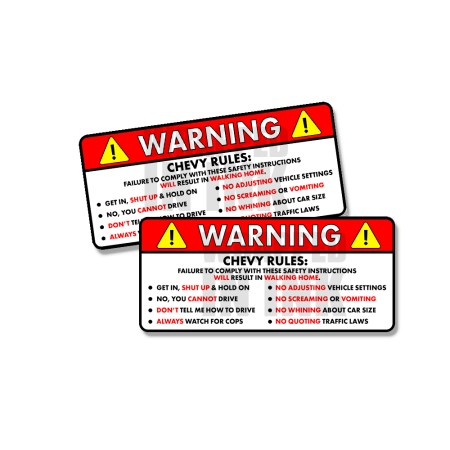 Chevy Rules Funny Safety Instruction Sticker Vehicle Decals 2 PACK 1
