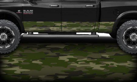 Army Green Camo Rocker Panel Wrap 1