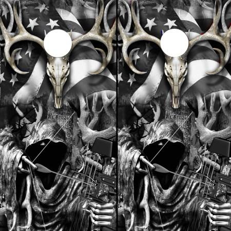 Cornhole Board Wraps Camo Decals Grim Reaper Subdued American Flag Buck Skull Grayscale Camouflage set of 2 (BOAMB-101SUB) 1
