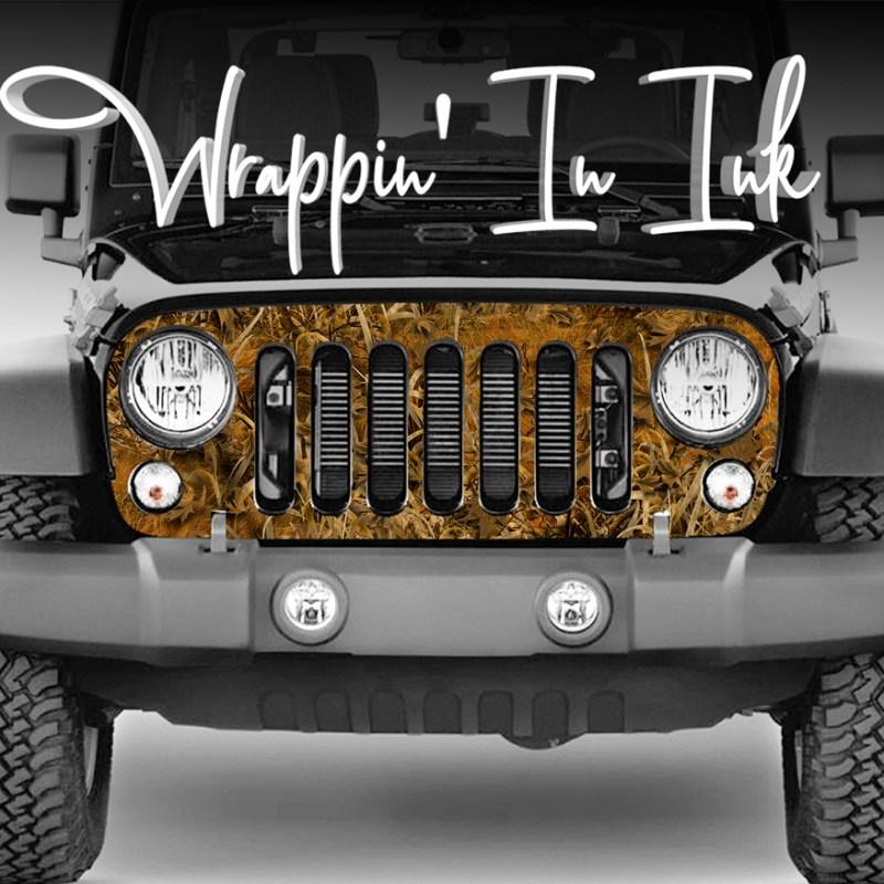 Jeep Wrangler Grill Wrap Grassland Camo