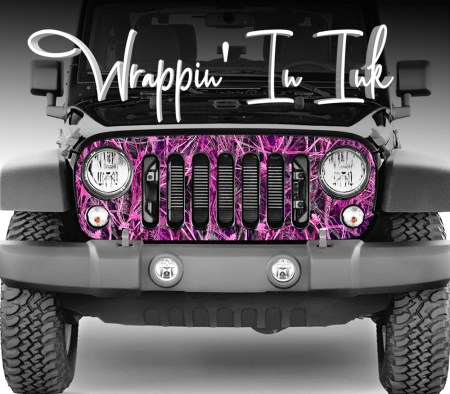 Jeep wrangler Grill Wrap Pink Camo