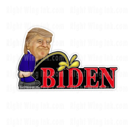TRUMP PEEING ON BIDEN STICKER