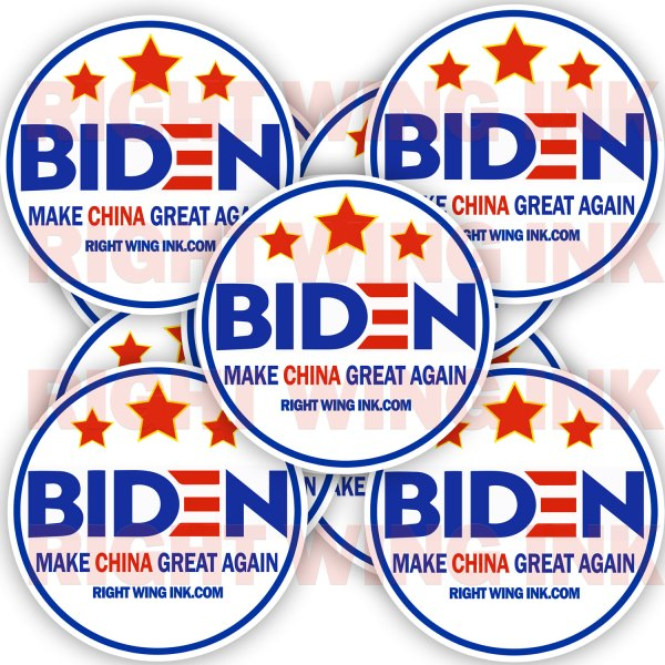 Biden Make China Great Again Stickers 2 Pack Rnd 3