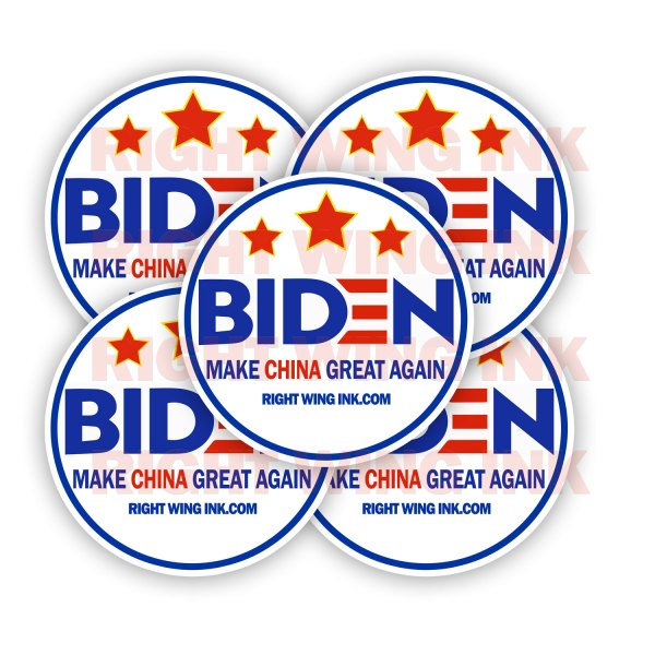 Biden Make China Great Again Stickers 2 Pack Rnd 2