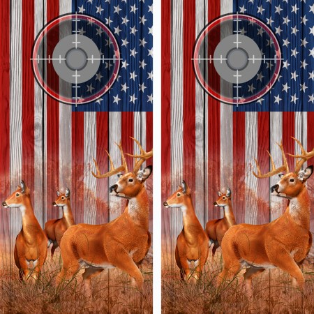 American Flag Buck N Deer Wood Cornhole Board Wraps Scope 3