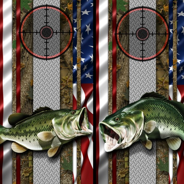 American Flag Forest Bass Cornhole Wrap 02 05