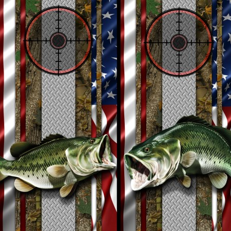American Flag Forest Bass Cornhole Wrap 02 05