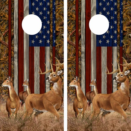 American Flag Marsh Buck N Deer Wood Cornhole Board Wraps 14