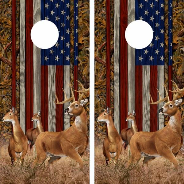 American Flag Marsh Buck N Deer Wood Cornhole Board Wraps 14