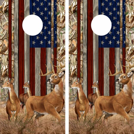 American Flag Obliteration Buck Camo Buck N Deer Wood Cornhole Board Wraps 15
