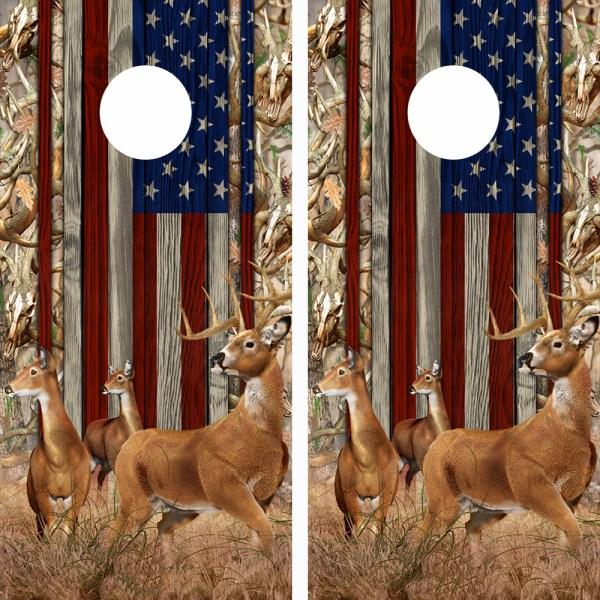 American Flag Obliteration Buck Camo Buck N Deer Wood Cornhole Board Wraps 15