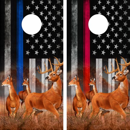 American Flag Blue N Red Line Buck N Deer Cornhole Board Wraps 05-06