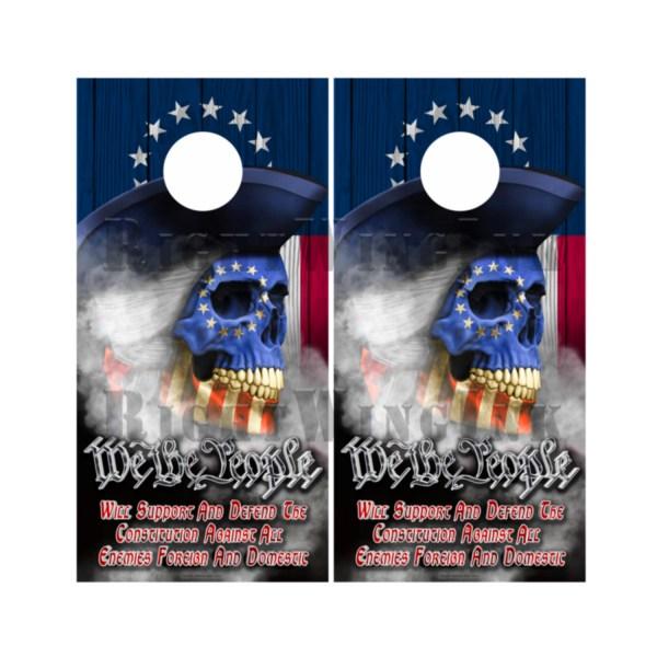 Betsy Ross Flag Skull We The People Cornhole Wraps 2