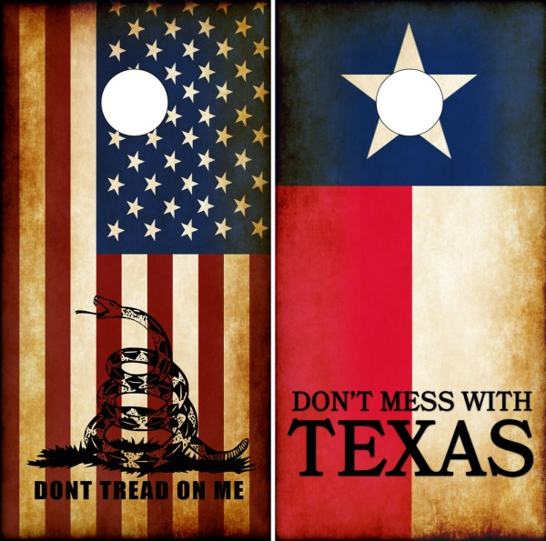 Dont Mess With Texas Dont Tred On Me Cornhole Board Wraps