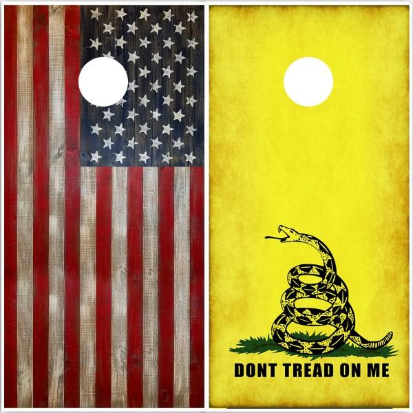 Cornhole Wrap Combo Set - Wood American Flag and Rustic Gadsden Flag