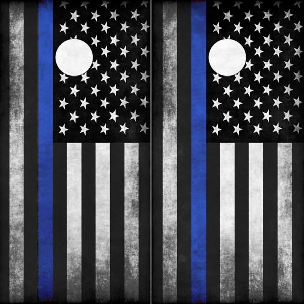 Police Flag Thin Blue Line American Flag Cornhole Wraps