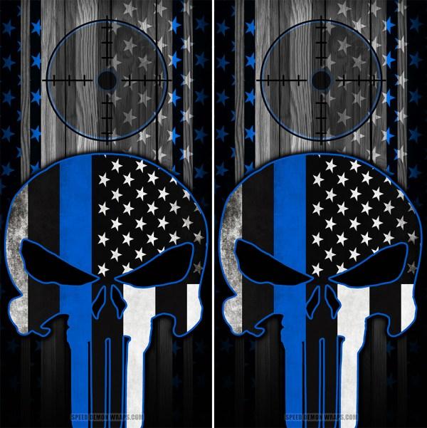 Punisher Blue Line American Flag Scope Wood Cornhole Wraps
