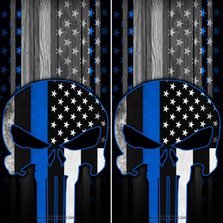 Punisher Blue Line American Flag Wood Cornhole Wraps