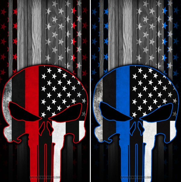 Punisher Combo Line American Flag Wood Cornhole Wrap