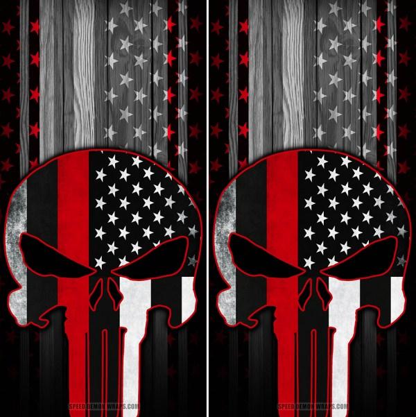 Punisher Red Line American Flag Wood Cornhole Wraps
