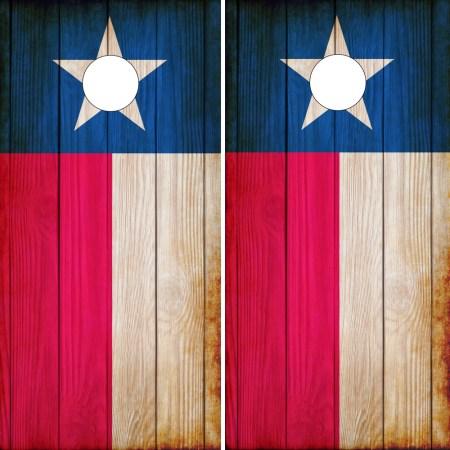 Texas Flag Cornhole Wraps - Rustic Texas Flags on Wood Grain Background