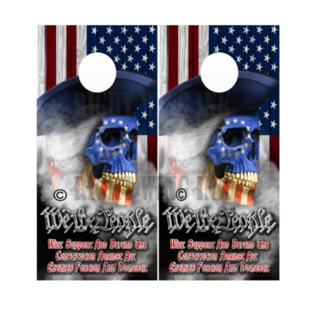 American Flag Skull We The People Cornhole Wraps