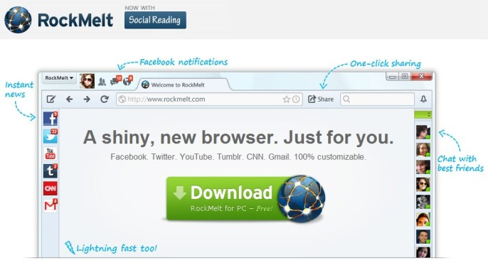 RockMelt : The Best social Browser the the best for Facebook - RIGHT