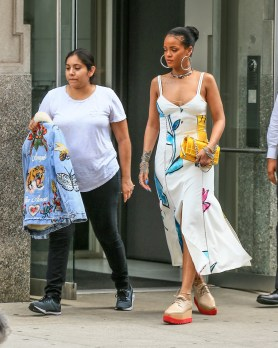 Rihanna Steps Out In A Printed Dress & Platforms
