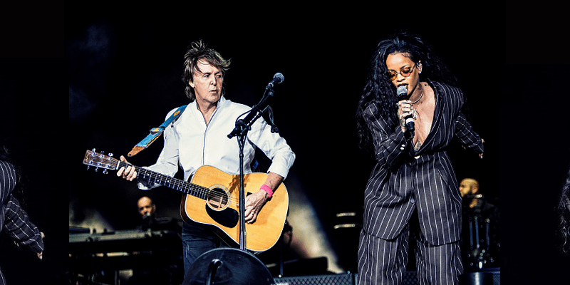 Rihanna joins Paul McCartney on stage during his Desert Trip set
