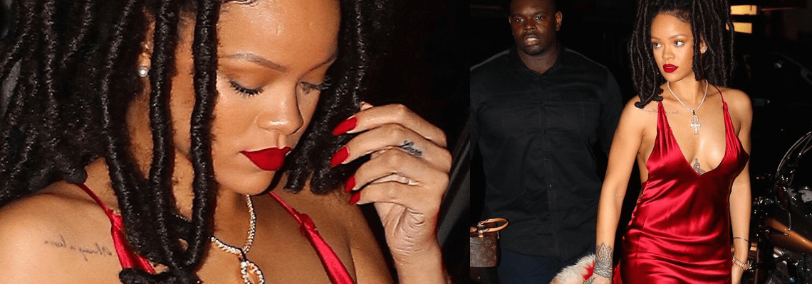 Rihanna is lady in red in New York