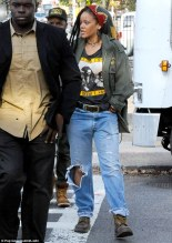 Rihanna arrives on the set of Ocean's Eight on November 2, 2016 New York City Dreadlocks