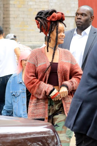 Rihanna on the set of Ocean's Eight in New York on November 3, 2016 crop top and camo trousers