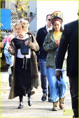 Rihanna and Helena Bonham Carter film Ocean's Eight in New York on November 5, 2016 yellow crop top