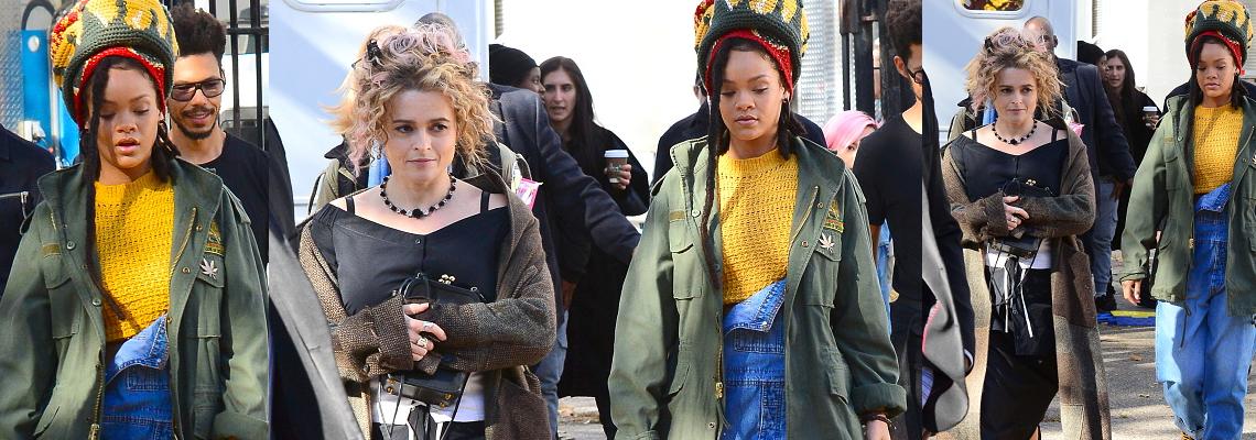 Rihanna and Helena Bonham Carter film Ocean's Eight in New York
