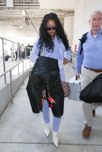Rihanna is seen at LAX