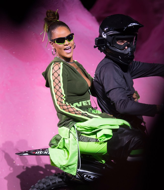Rihanna Closes Her Fenty Puma Fashion Show by Riding in on a Dirt Bike
