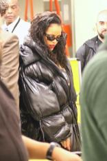 Rihanna at JFK Airport on May 10, 2018 coat