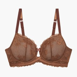 Rihanna Savage x Fenty Floral Mesh Lace Bra Brown Sugar 38dd