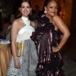 Rihanna attends Ocean's 8 premiere after party on June 5 in New York posing with Anne Hathaway