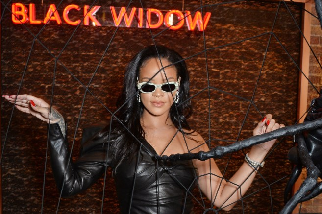 Rihanna visits Savage x Fenty pop up shop in London on June 15, 2018 Black Widow