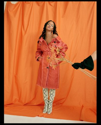 Rihanna covers Allure's October 2018 Issue flower and orange background
