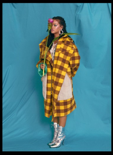 Rihanna covers Allure's October 2018 Issue flower and blue background, checkered coat